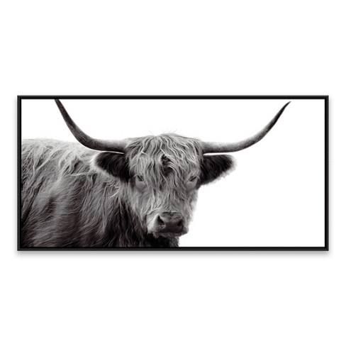 "24.25""x48.25"" Black & White Highland Cow Framed Wall Canvas - Threshold�"