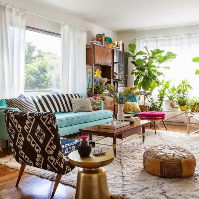 Colorful eclectic boho chic living room