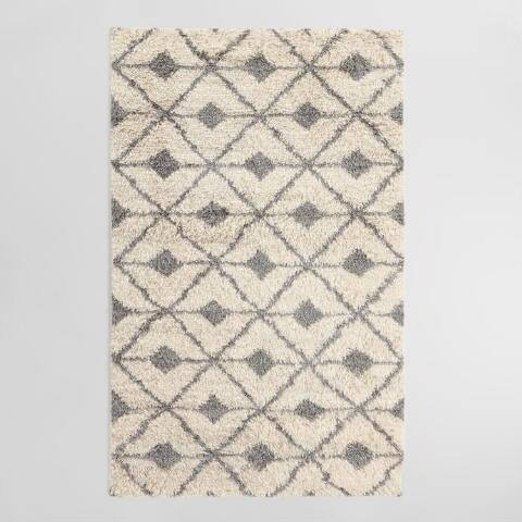 Charcoal Gray Diamond Wool Shag Skyler Area Rug
