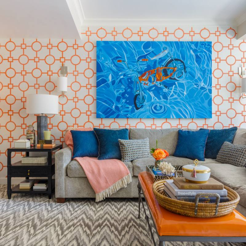 Bright blue and orange ann lowengart livingroom