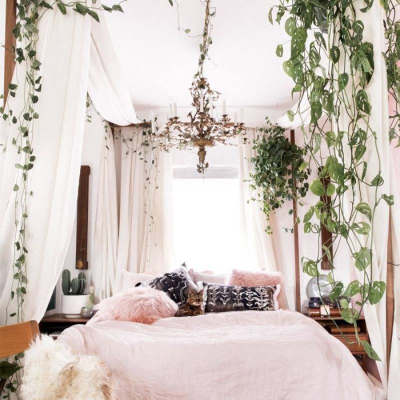 Vine filled boho chic bedroom