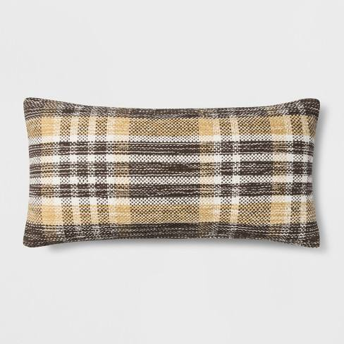 Woven Plaid Oversized Lumbar Throw Pillow Gold - Threshold�