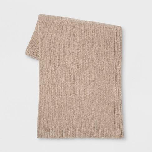 Heathered Chenille Knit Throw Blanket Neutral - Threshold�