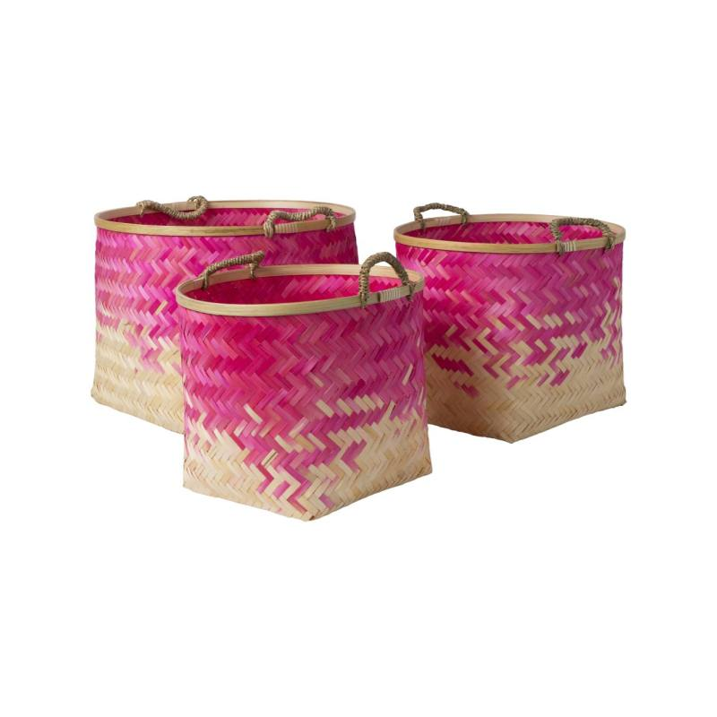 Perca Baskets, Pink (Set of 3)