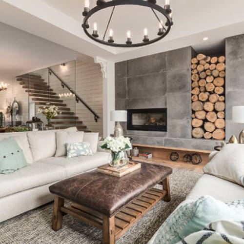 Neutral modern farmhouse kid friendly living room with rustic feel