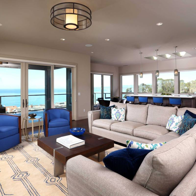 Bright Blue accent living room