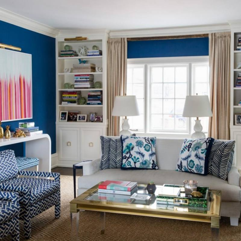 Get the look: Colorful blue accent living room