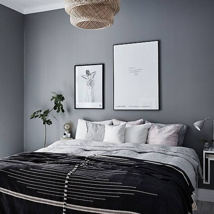 Dark Scandinavian Bedrooms with grey accent wall