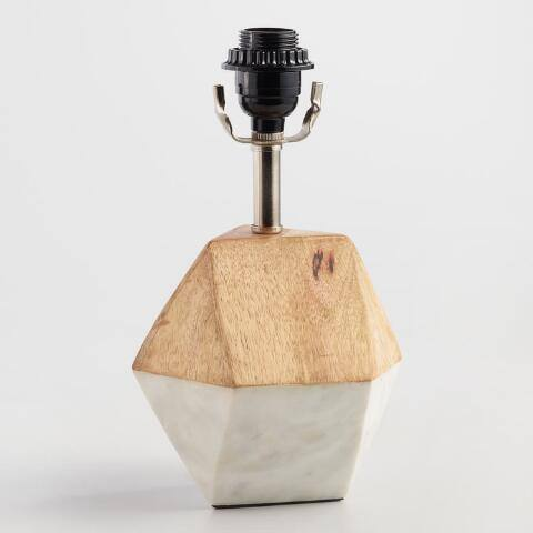 White Marble and Wood Liam Accent Lamp Base