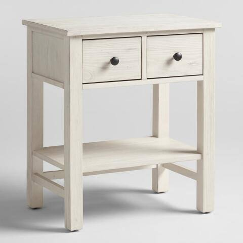 Distressed White Wood Cory Nightstand