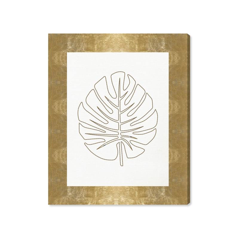 Stitched Palm Leaf I Canvas Wall Art