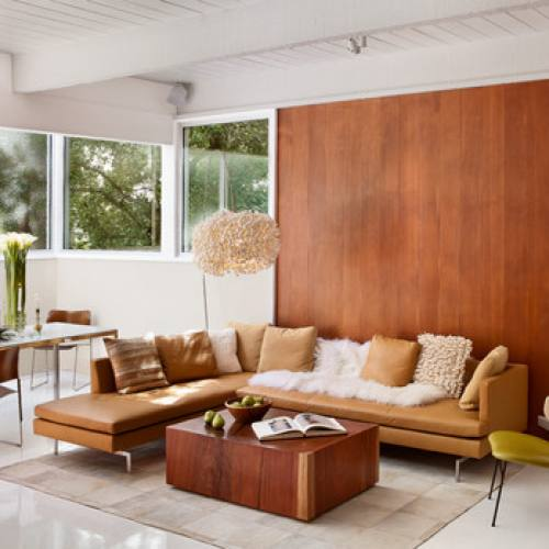 Mid Century Modern Brown Couch Sectional living room