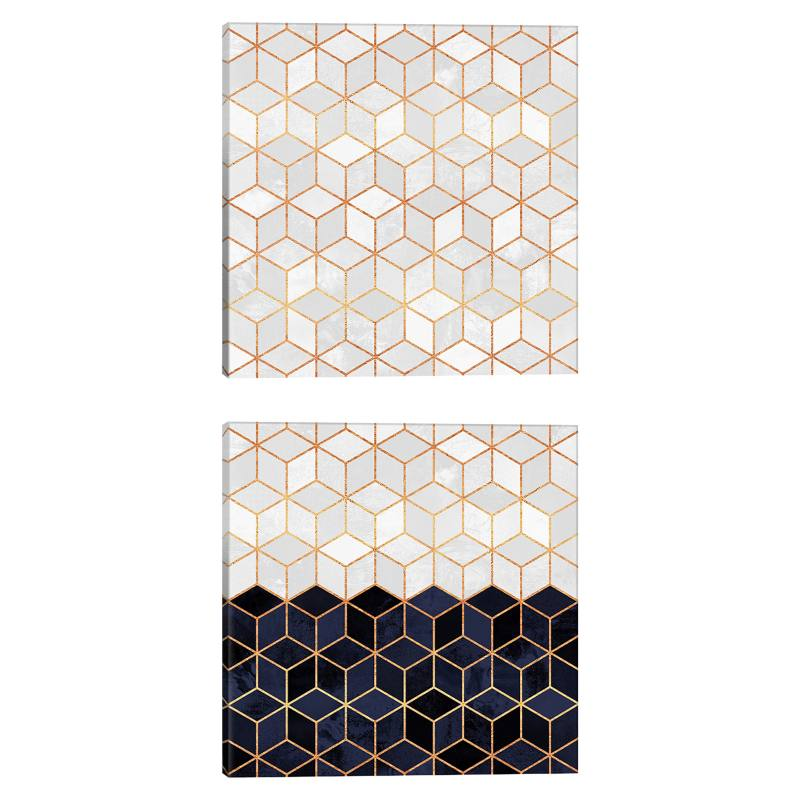 White & Navy Cubes Gicl�e Print Canvas Diptych
