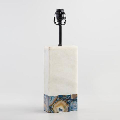 White Marble and Agate Table Lamp Base