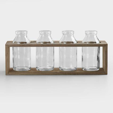 "4"" Bottle Vases with Wood Holder, Set of 4"