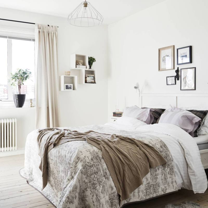 Neutral cozy Scandinavian Bedrooms