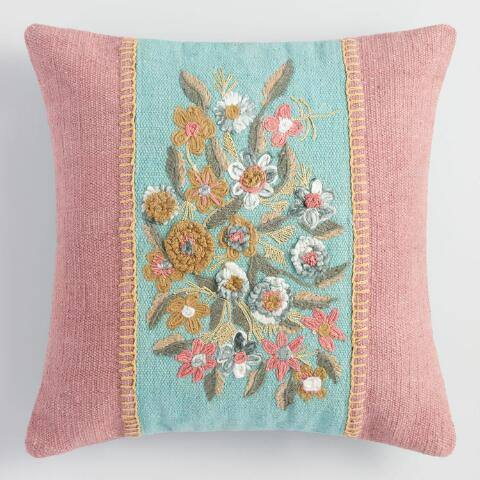 Large Blush Garden Floral Throw Pillow