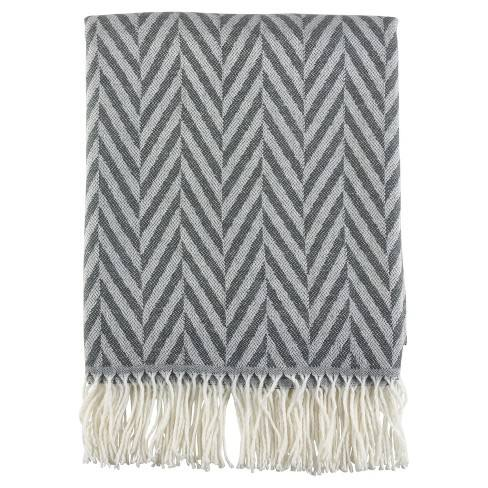 "Grey Jacquard Pattern Fringe Throw Blankets (50""x60"") - Saro Lifestyle�"