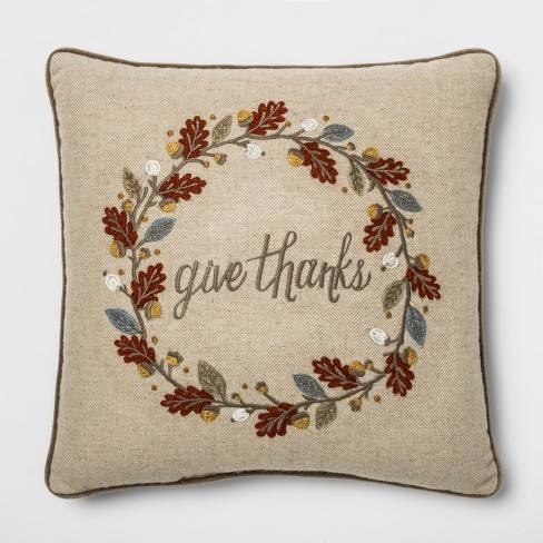 'Give Thanks' Wreath Square Throw Pillow Neutral - Threshold�
