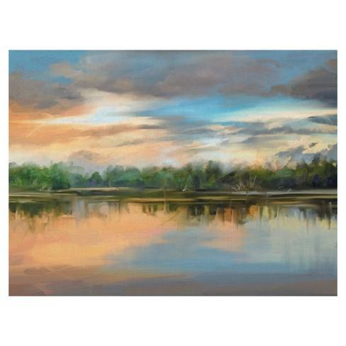 "30""x40"" Lakeside Light By Studio Arts Art On Canvas - Fine Art Canvas"