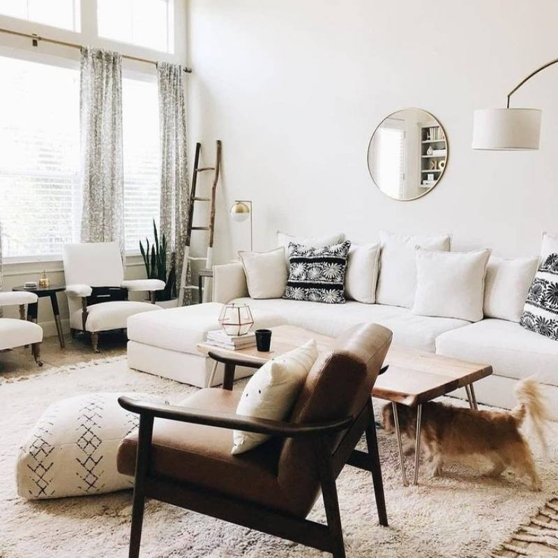Modern all white bohemian living room
