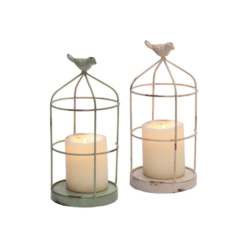 Set of 2 Bird Cage Candleholders