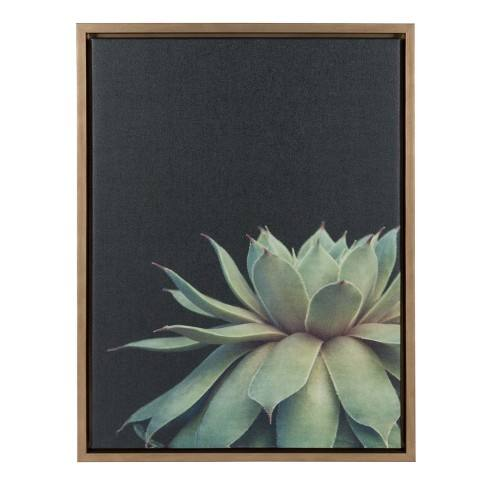 "Kate & Laurel 24""x18"" Sylvie Succulent Framed Wall Canvas Gold"