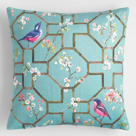 Blue Velvet Bird Chinoiserie Throw Pillow