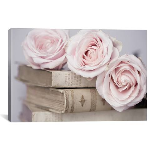 "26""x40"" Vintage Roses by Symposium Design Unframed Wall Canvas Print Buff Beige - iCanvas"