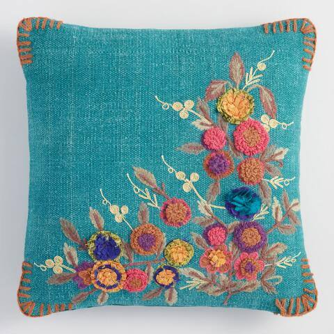 Teal Garden Floral Throw Pillow