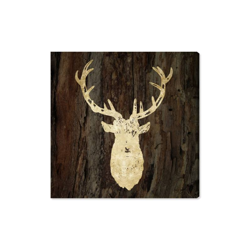 Gold Stag Canvas Wall Art