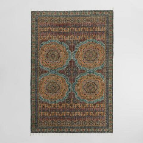 Green and Rust Medallion Print Woven Jute Adra Area Rug