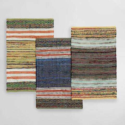 2'x3' Multicolor Wide Stripe Chindi Area Rug