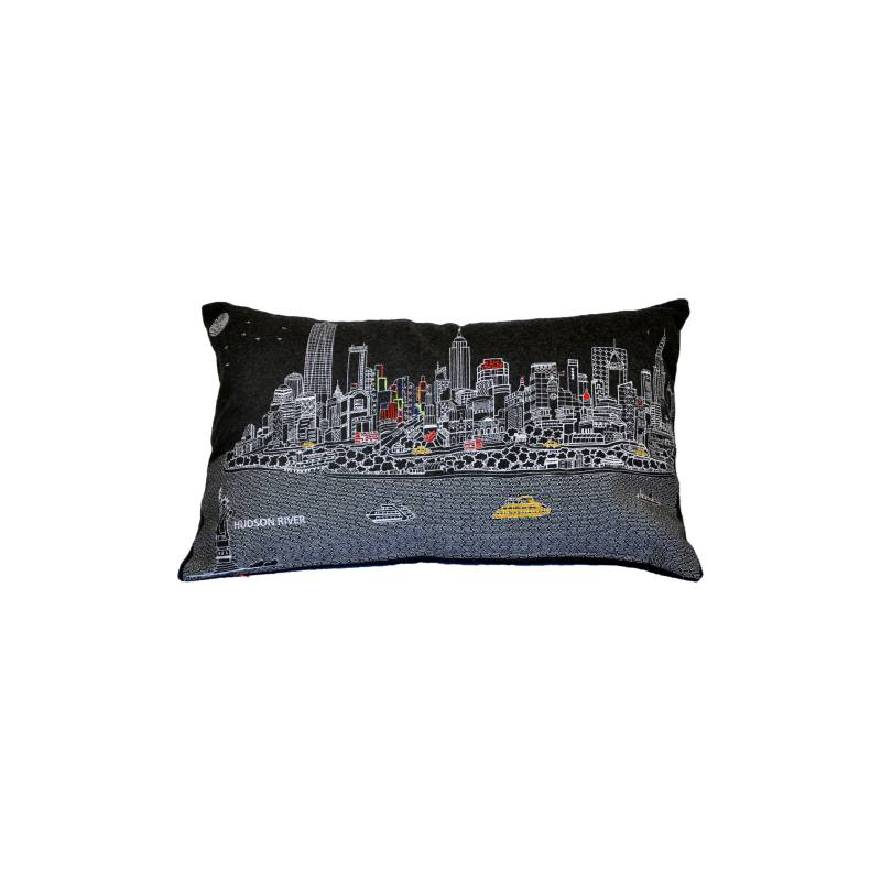New York Embroidered Skyline Pillow