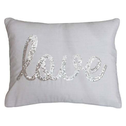 "D�cor Therapy 14""x18"" Sequin Love Pillow"