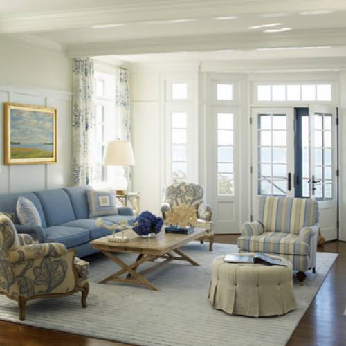 Blue sofa french countryside living room Austin Patterson Disston