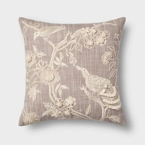 Embroidered Bird Square Throw Pillow Natural - Threshold�