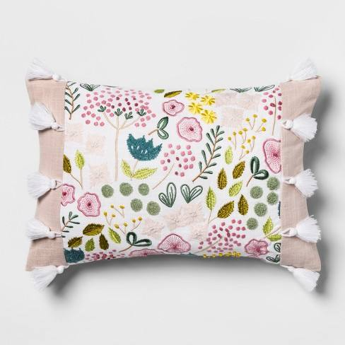 Pink Floral Embroidered Lumbar Pillow - Opalhouse�