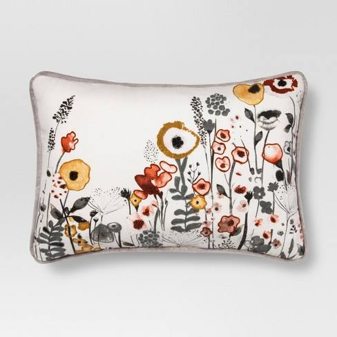 White Floral Watercolor Embroidered Lumbar Pillow - Threshold�