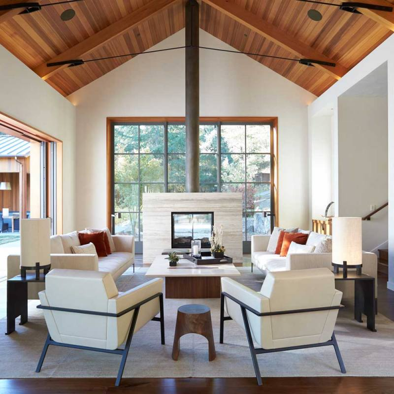 Modern farmhouse living room with high ceilings by bk interior