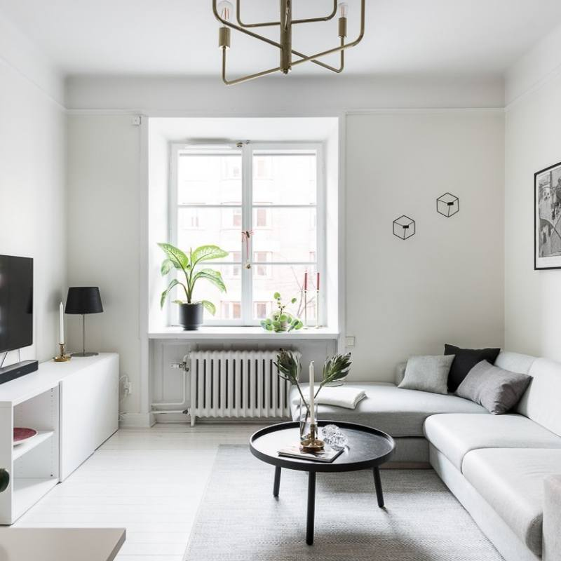 Modern simple all white apartment living room