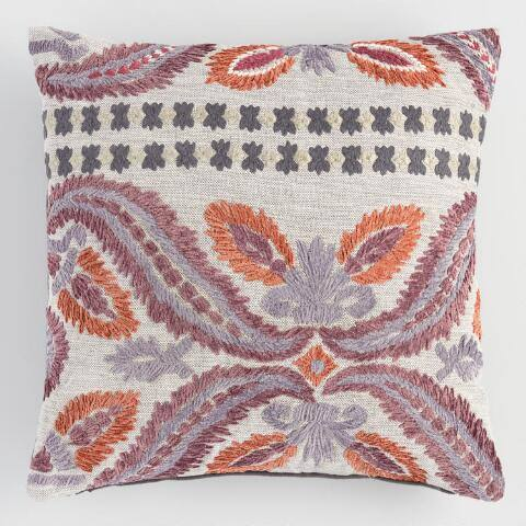 Floral Embroidered Jali Throw Pillow