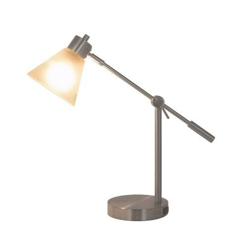 Articulated Task Lamp with Outlet Frosted Shade - Threshold�