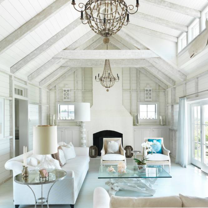 Glamorous all white breezy living room by Donna Elle