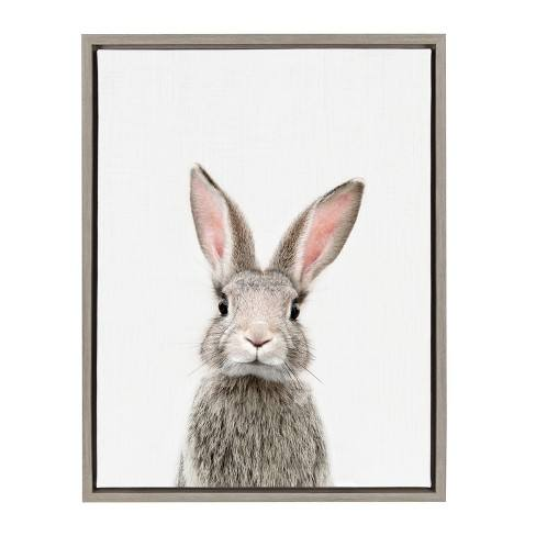 "Kate & Laurel 24""x18"" Sylvie Female Baby Bunny Rabbit Animal Print Portrait By Amy Peterson Framed Wall Canvas Gray"