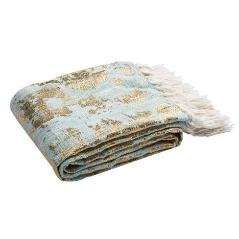 Gemma Metallic Throw Blanket Blue/Gold - Safavieh