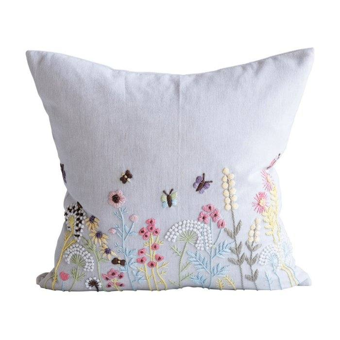 Embroidered Botanical Garden Lumbar Pillow