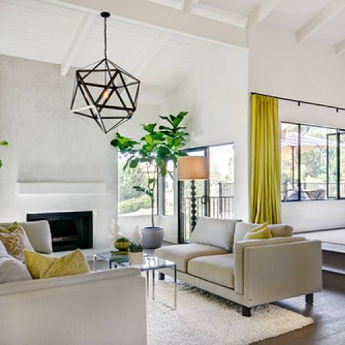 Cream bright modern living room with yellow accents