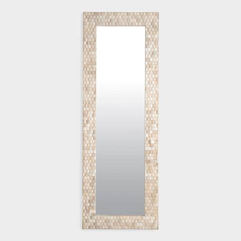 Teak Wood Mosaic Full Length Wall Mirror