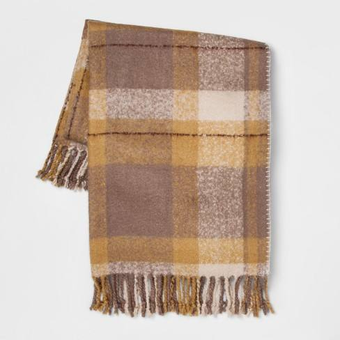 "60""x50"" Faux Mohair Plaid Throw Blanket - Threshold�"